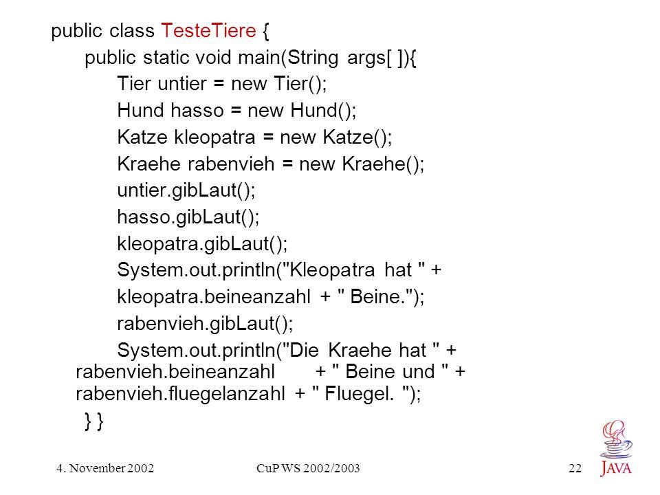 public class TesteTiere { public static void main(String args[ ]){